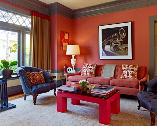 A Fresh And Vibrant Coral Colored Living Room