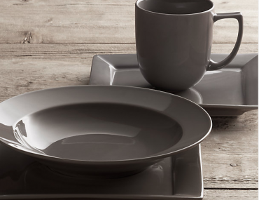 Click to Zoom  Chinese Porcelain Square Rimmed 16-Piece Dinnerware Set with Cereal Bowl in Graphite