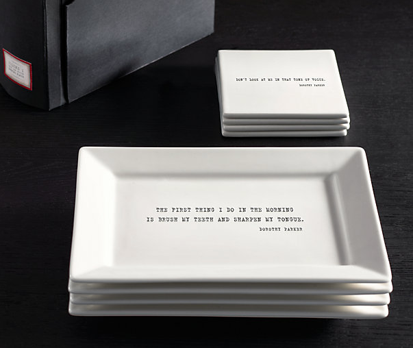 Literary Quote Cocktail Plate and Coaster Sets, Dorothy Parker