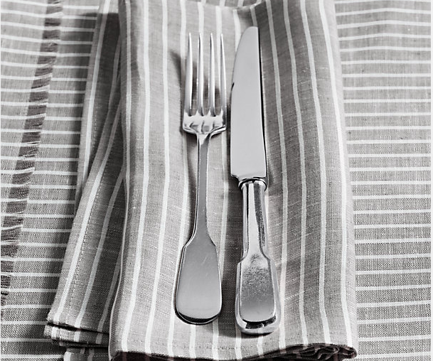 European Stripe Linen Dinner Napkins in Mist with White