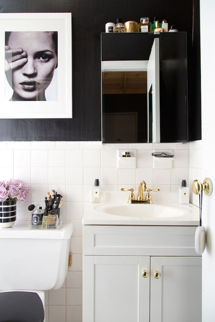 Bathroom Makeovers Under $500 a teen vogue editor's stylish rental bathroom makeover - nicole