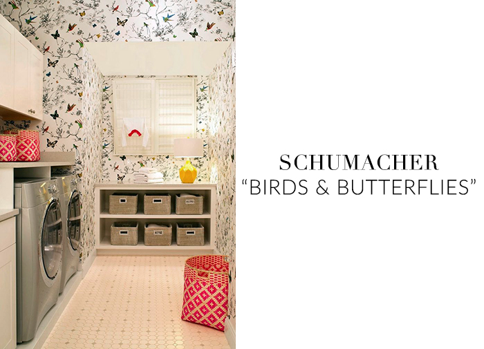 10 Stylish Wallpapers to Liven Up Your Laundry Room. Birds & Butterflies Wallpaper | sohautestyle.com