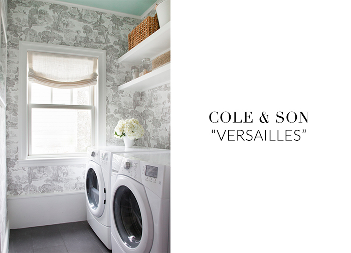 10 Stylish Wallpapers to Liven Up Your Laundry Room. Cole & Son Versailles Wallpaper | sohautestyle.com