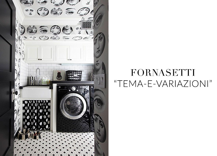10 Stylish Wallpapers to Liven Up Your Laundry Room. Fornasetti Wallpaper| sohautestyle.com
