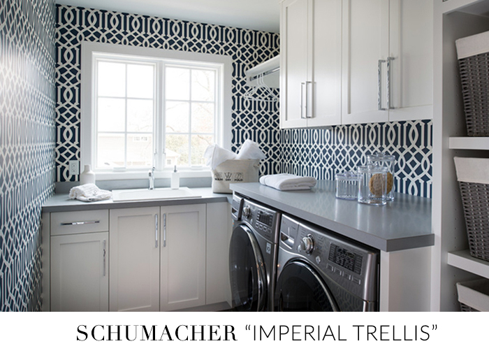 10 Stylish Wallpapers to Liven Up Your Laundry Room. Imperial Trellis Wallpaper. | sohautestyle.com