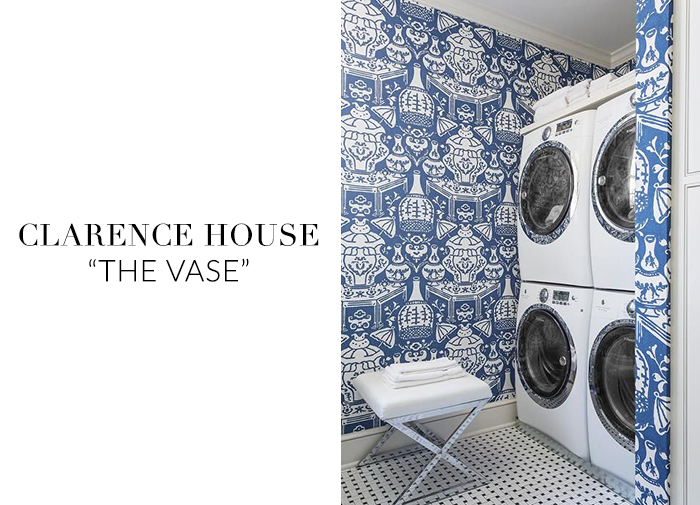 10 Stylish Wallpapers to Liven Up Your Laundry Room. The Vase Hicks Clarence House Wallpaper | sohautestyle.com