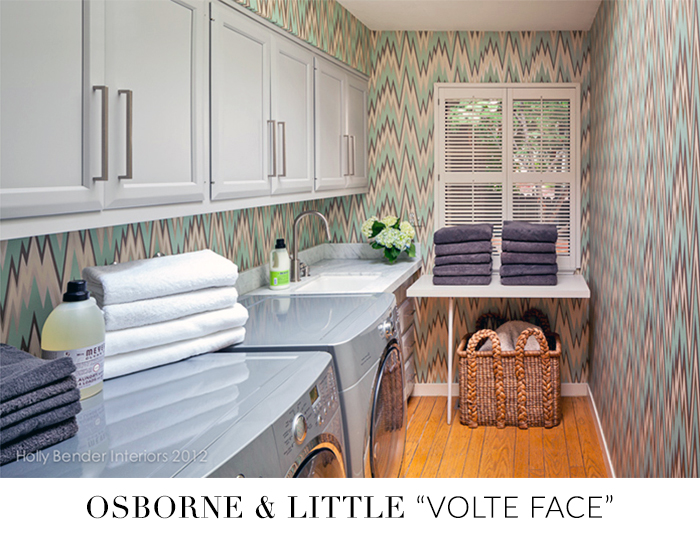 10 Stylish Wallpapers to Liven Up Your Laundry Room. Volte Face Wallpaper | sohautestyle.com