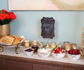 Interior designer and style expert Nicole Gibbons shows you how to create your own waffle bar brunch with a stunning tablescape featuring dining pieces from Pier 1 Imports!