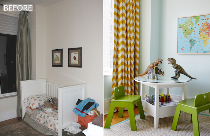 A Sunny & Stylish Shared Kids Room Makeover_7 before after