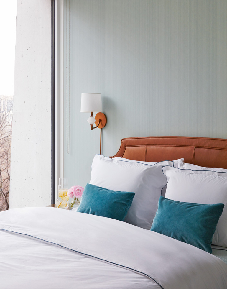 Cognac Leather Bed + Serene Blue Bed_2