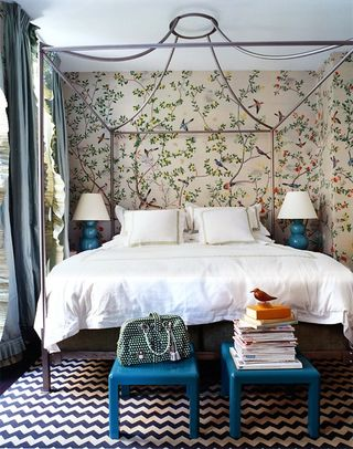 this steel campaign style canopy bed was featured in one of my favorite rooms designed by miles redd before settling on a custom upholstered headboard for - Canopied Beds