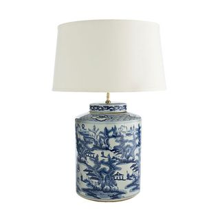 Wisteria Blue White Lamp