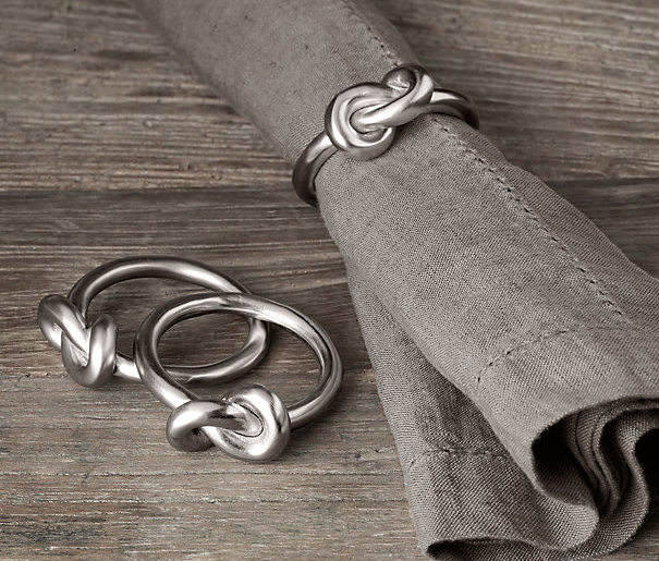 Hand-Forged Knot Napkin Rings in Brushed Nickel