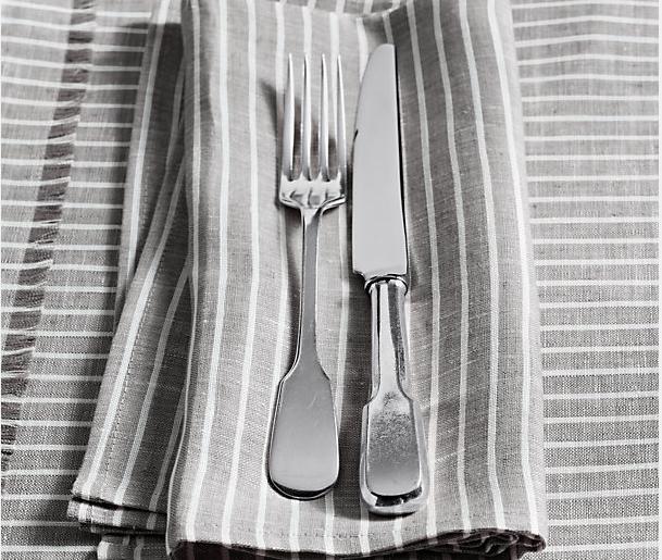 European Stripe Linen Dinner Napkins in Mist with White