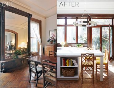 A before and after Brooklyn Brownstone Kitchen Renovation - sohautestyle.com